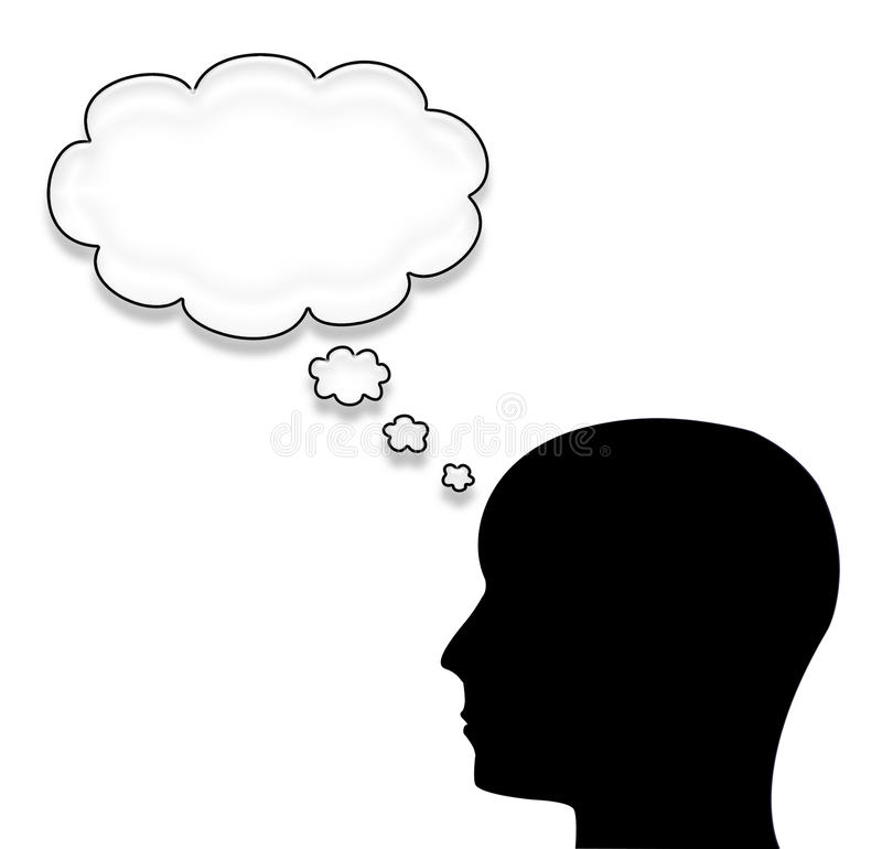 Homem com a uma bolha isolada no branco ilustração stock