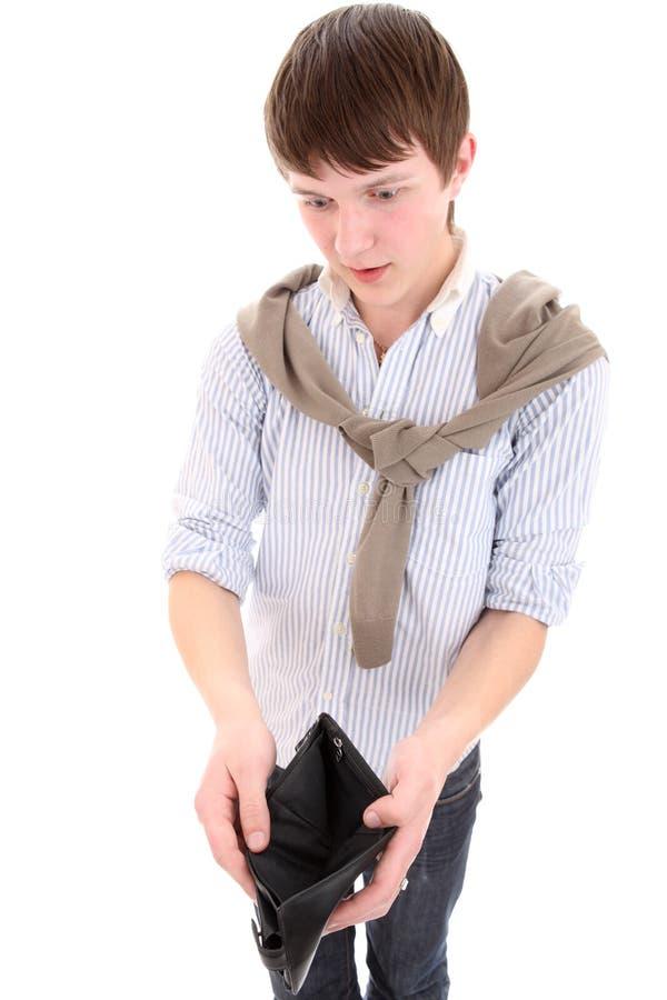 Homem com uma carteira vazia nas mãos fotos de stock