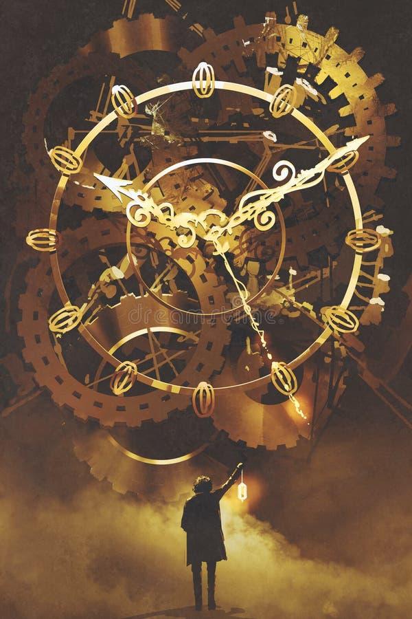 Homem com uma lanterna que está na frente do maquinismo de relojoaria dourado grande ilustração do vetor