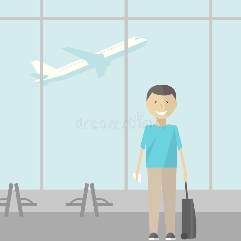 Homem com uma mala de viagem no aeroporto Ilustração do vetor ilustração royalty free