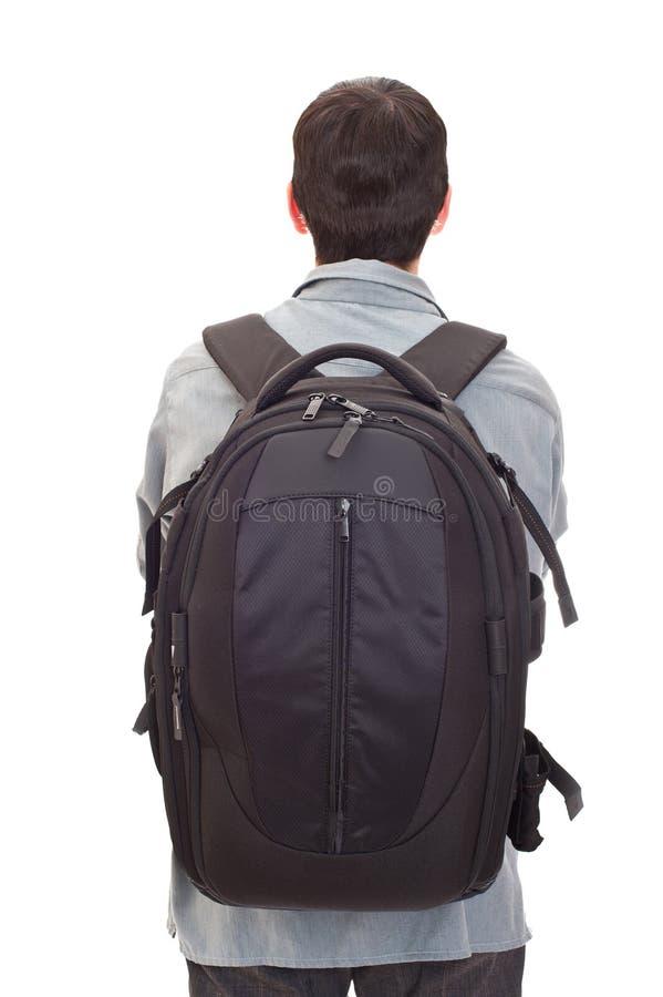 Homem com uma mochila foto de stock