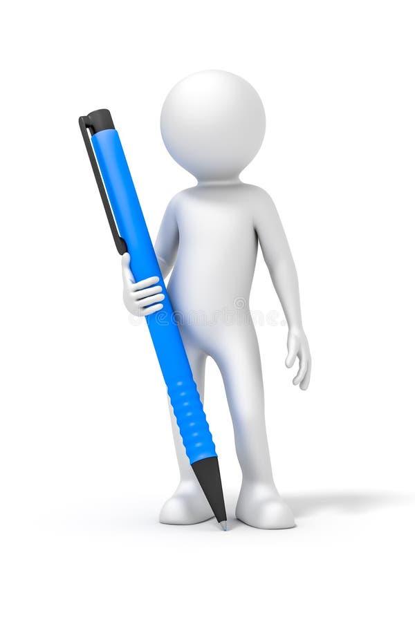 Homem com uma pena de bola ilustração stock