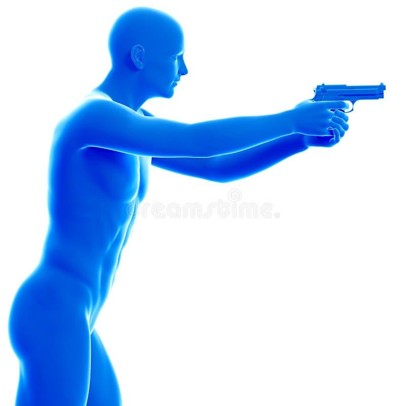 Homem com uma pistola ilustração royalty free