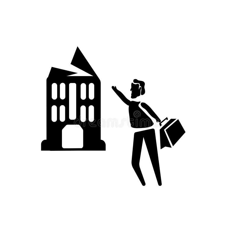 Homem com vetor do ícone da empresa isolado no fundo branco, homem com sinal da empresa, ilustrações do negócio ilustração stock