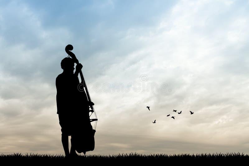 Homem com violoncelo ilustração do vetor