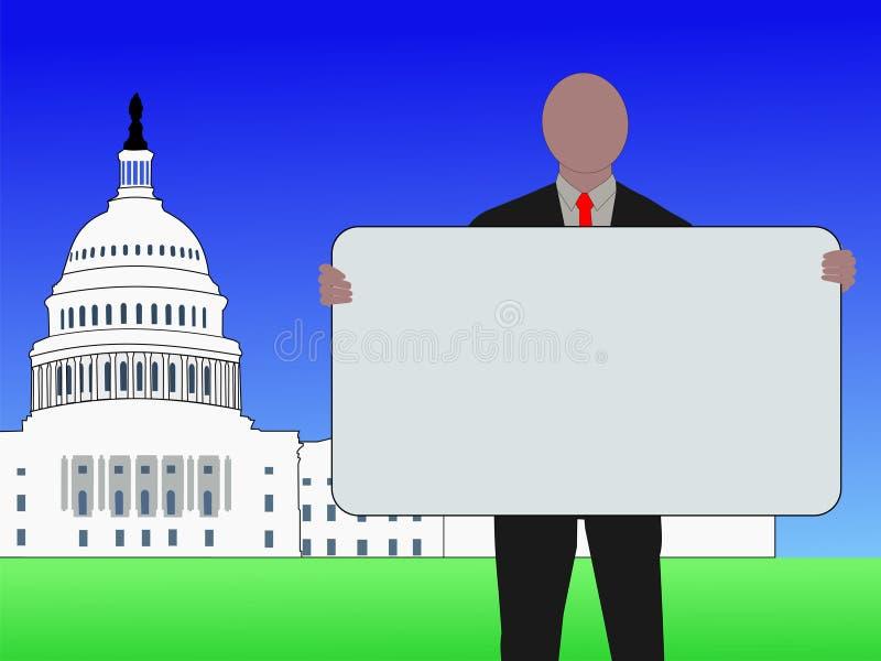 Homem com Washington DC do sinal ilustração do vetor
