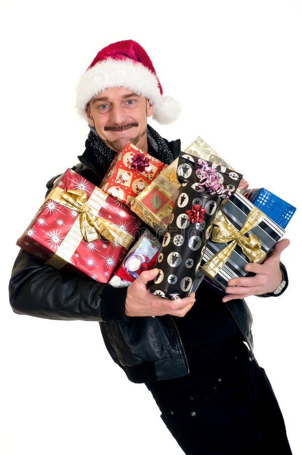 Homem, compra do Xmas fotografia de stock