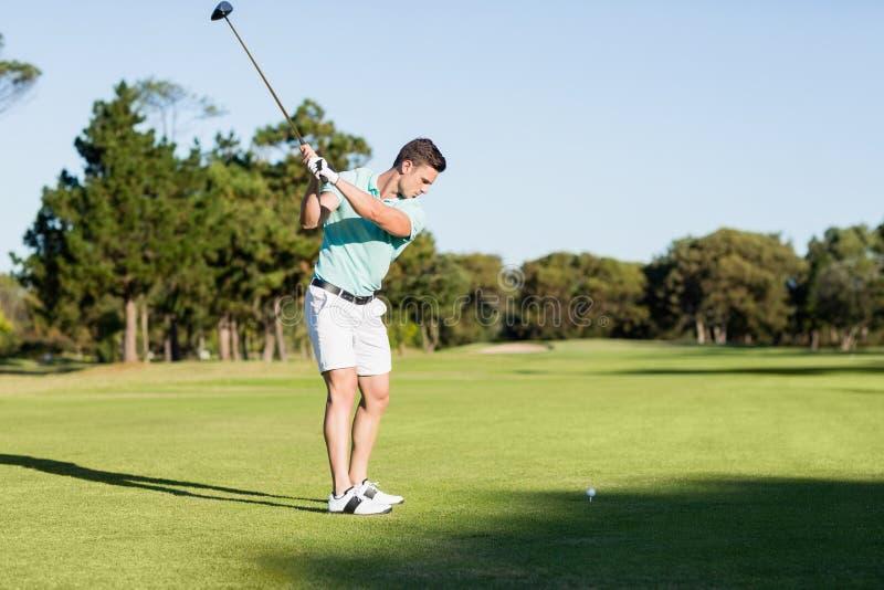 Homem concentrado do jogador de golfe que toma o tiro imagem de stock