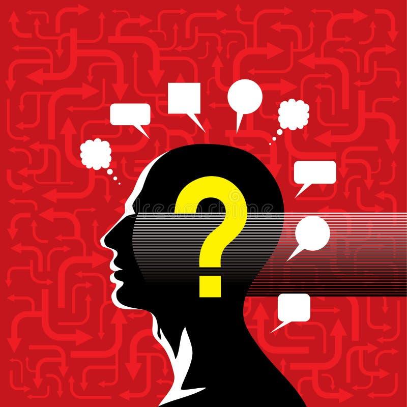 Homem confuso da silhueta com fundo vermelho da seta ilustração stock