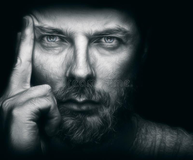 Homem considerável com barba e os olhos bonitos fotos de stock