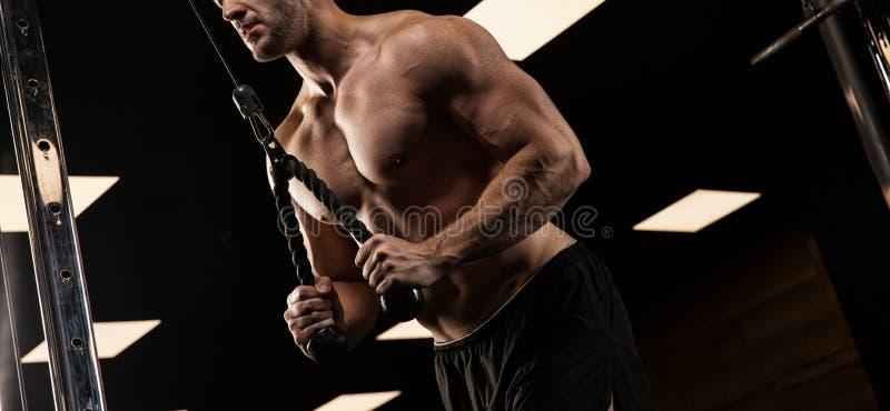 Homem considerável com os músculos grandes, levantando na câmera no gym imagem de stock
