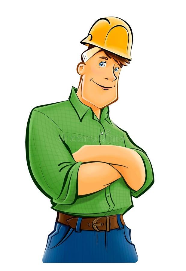 Homem considerável do construtor no capacete ilustração do vetor
