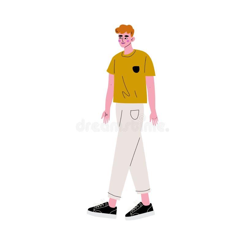 Homem considerável do ruivo novo na ilustração do vetor da roupa ocasional ilustração do vetor