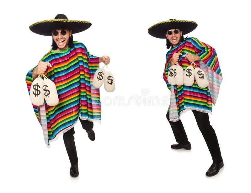 Homem considerável no poncho vívido que mantém sacos do dinheiro isolados no whit fotos de stock