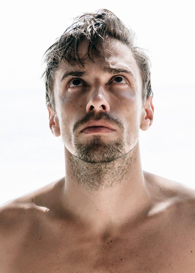 Homem considerável novo, descamisado e não barbeado foto de stock