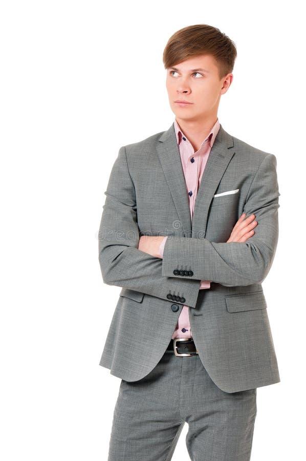 Homem considerável novo no terno fotografia de stock