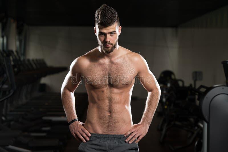 Homem considerável novo que levanta no Gym fotografia de stock royalty free