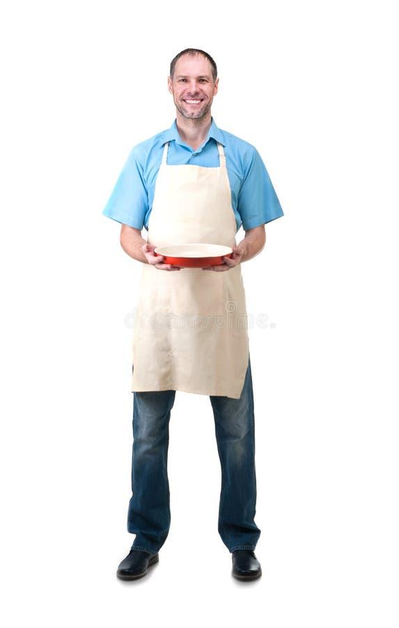 Homem considerável que guarda um prato para o seu fotos de stock