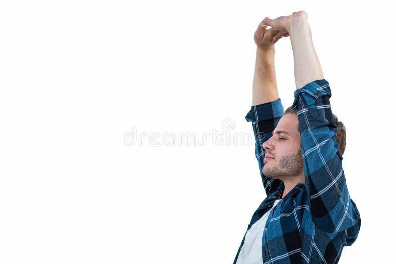 Homem considerável que outstretching seus braços fotos de stock