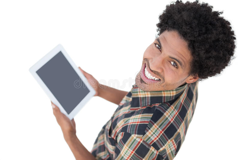 Homem considerável que usa seu PC da tabuleta fotos de stock royalty free
