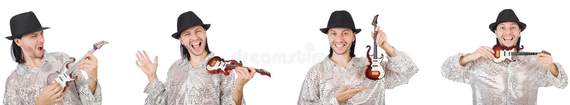 Homem consider?vel novo que joga a guitarra pequena imagens de stock royalty free