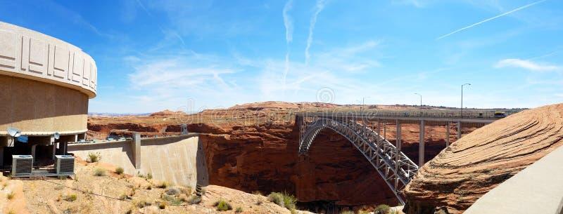 Homem contra a natureza, Glen Canyon Dam, o Arizona fotografia de stock