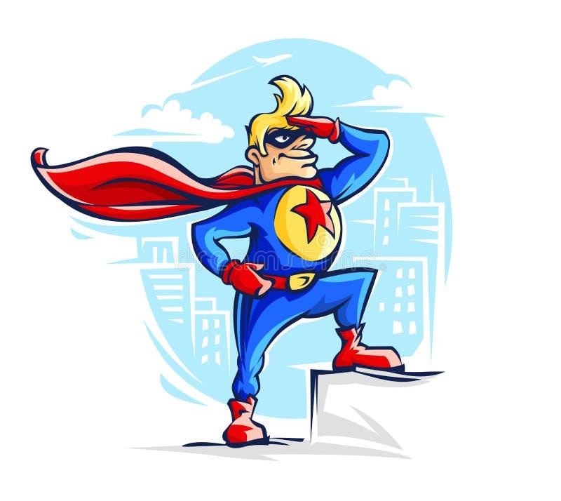 Homem corajoso do super-herói no traje com vermelho ilustração stock
