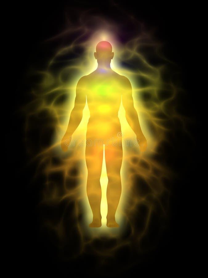 Homem - corpo da energia - aura ilustração do vetor