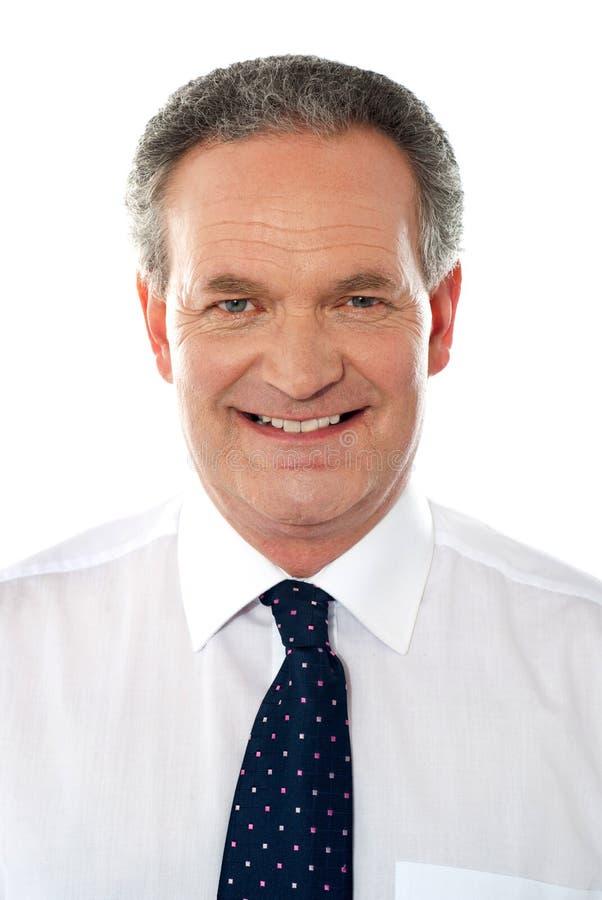 Homem corporativo sênior de sorriso. Close up fotografia de stock