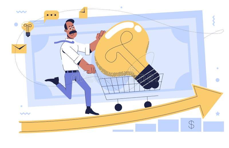 Homem correndo empurrando na frente dele um carrinho de compras de supermercado foto de stock