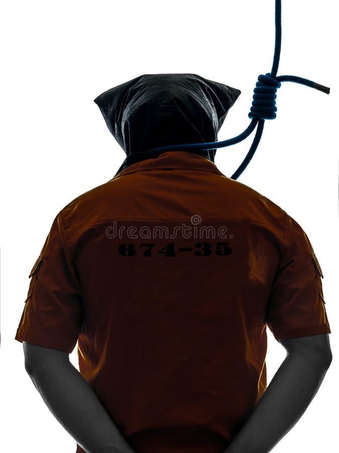 Homem criminoso com a soga do carrasco em torno da silhueta do pescoço imagem de stock