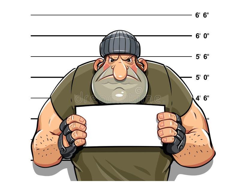Homem criminoso irritado ilustração do vetor