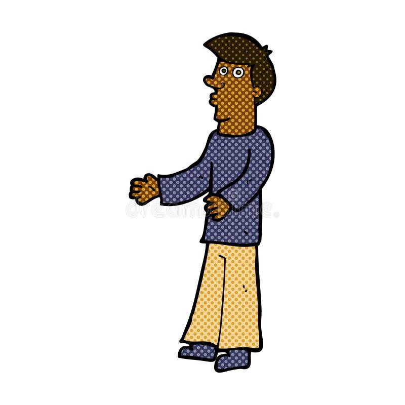 homem curioso dos desenhos animados cômicos ilustração stock