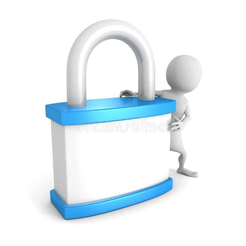 Homem 3d branco com cadeado azul Conceito da segurança ilustração royalty free