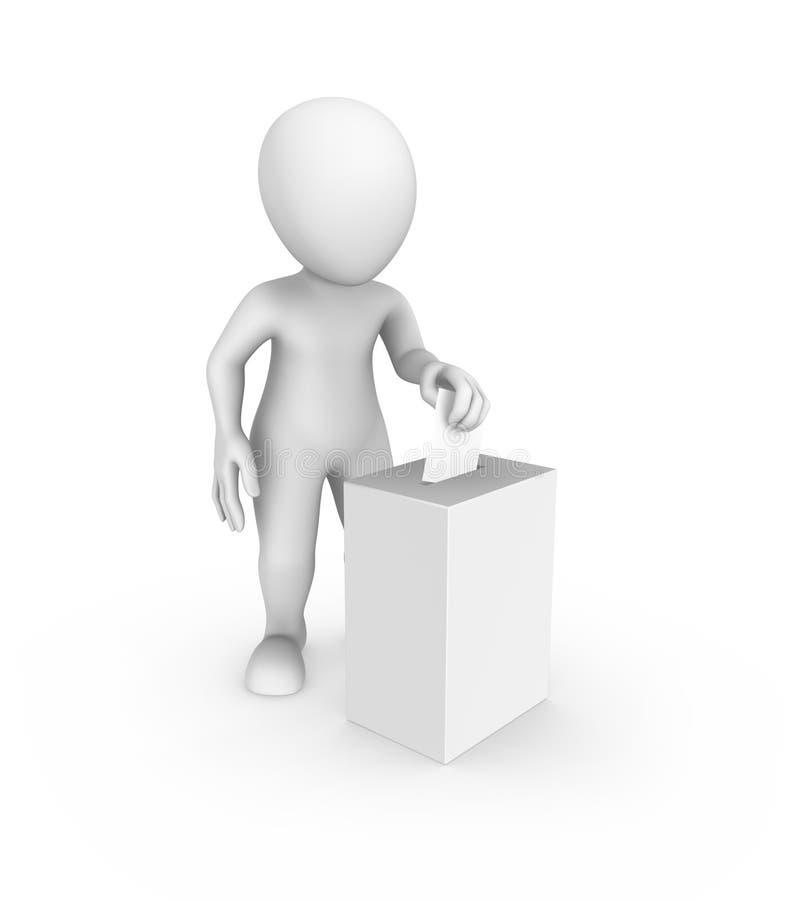 homem 3d branco e caixa e cédula do voto ilustração royalty free