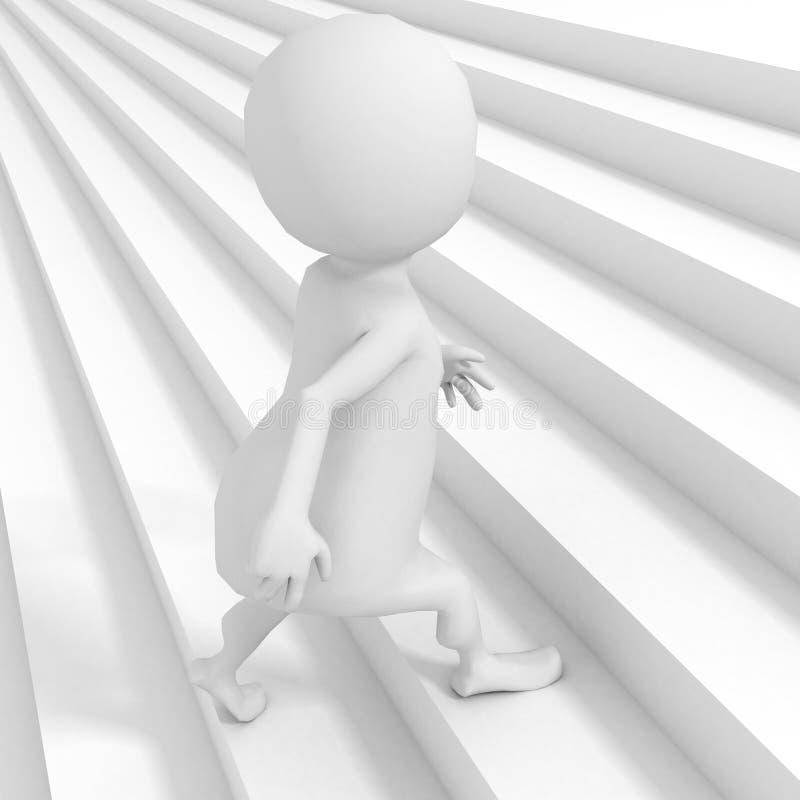 Homem 3d branco que escala acima escadas da escada ilustração royalty free