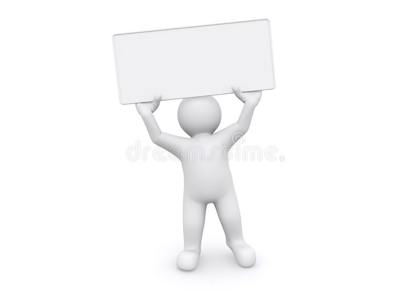homem 3d branco que guarda a placa vazia no fundo branco ilustração stock