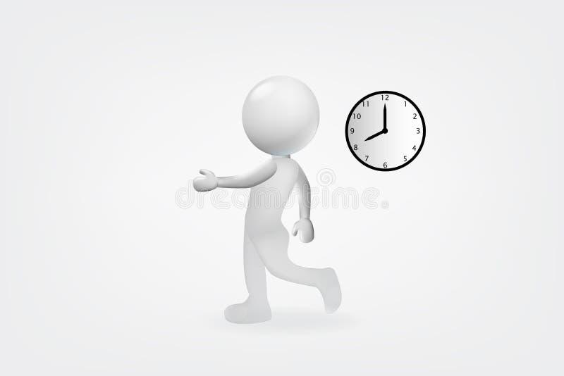homem 3d branco tarde ao logotipo do vetor do projeto de trabalho ilustração stock