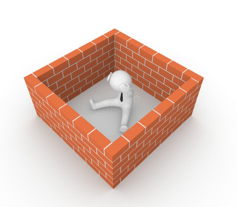 homem 3d cercado pela parede de tijolo ilustração do vetor