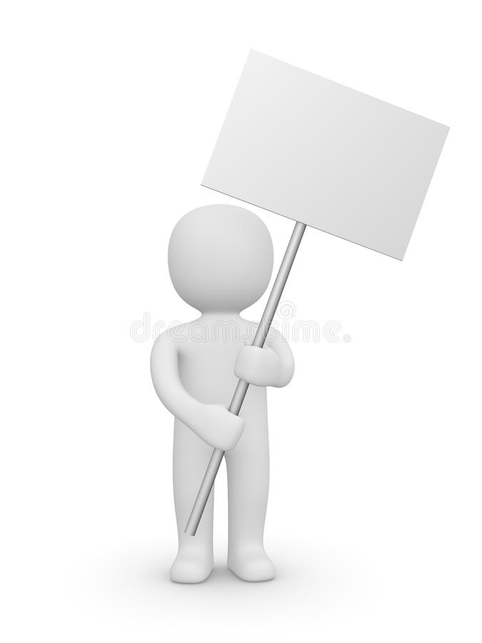 homem 3d com bandeira vazia ilustração royalty free