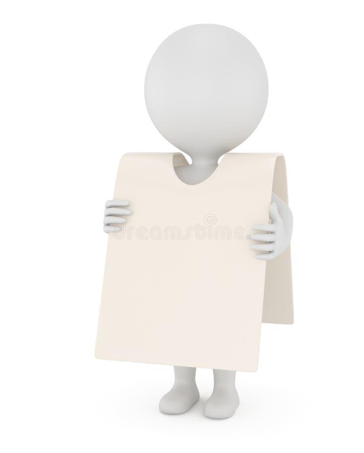 homem 3d com cartaz ilustração royalty free