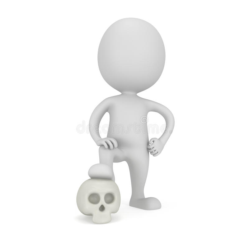 homem 3d com crânio ilustração do vetor