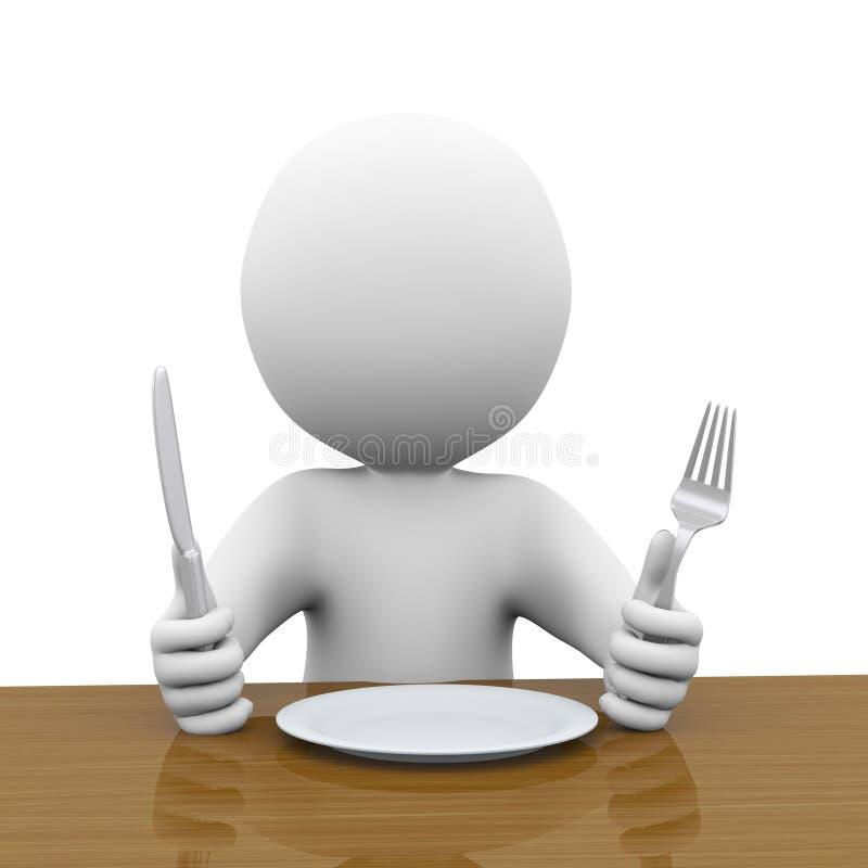 homem 3d com fome que wainting para sua refeição ilustração stock
