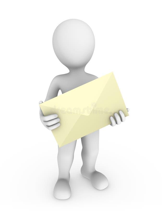 homem 3d com letra nas mãos ilustração stock