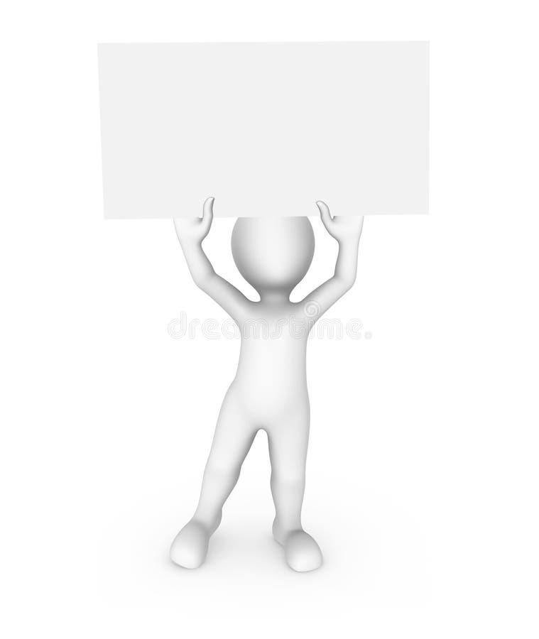 homem 3d com o cartaz branco vazio ilustração royalty free