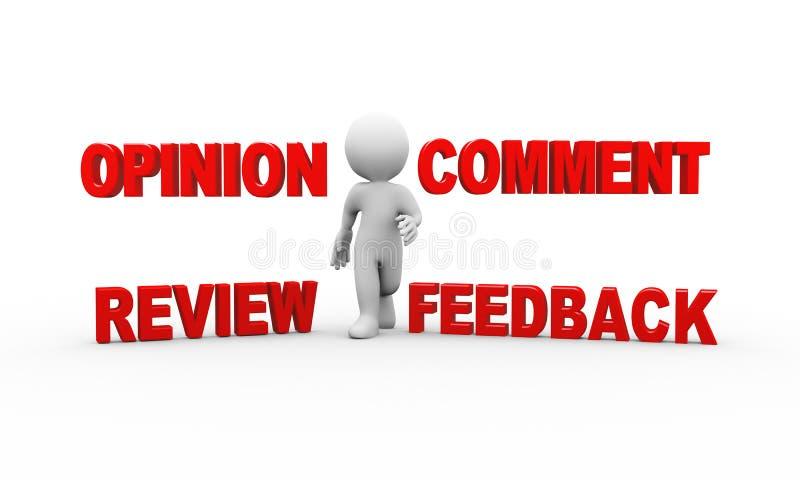 homem 3d com opinião do feedback do comentário ilustração stock