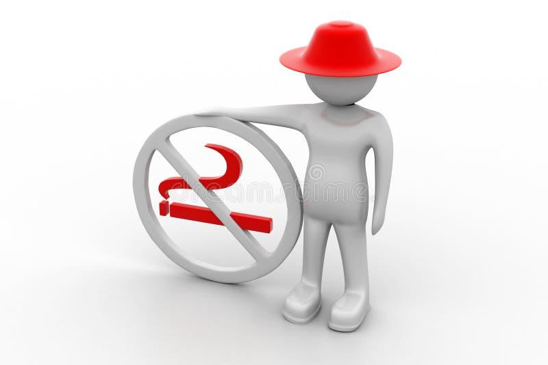 homem 3d com símbolo não fumadores ilustração stock