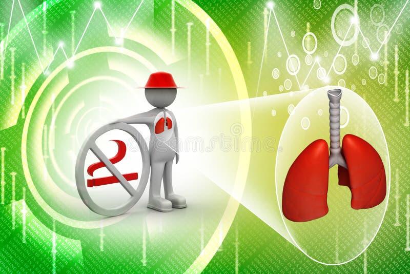 homem 3d com símbolo não fumadores e pulmões ilustração do vetor