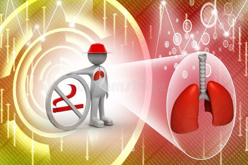 homem 3d com símbolo não fumadores e pulmões ilustração stock