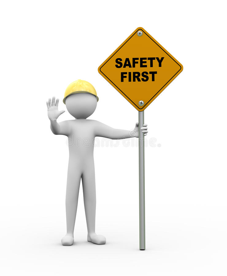 homem 3d com sinal de estrada da segurança em primeiro lugar ilustração stock